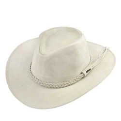Ref: 0240 - Chapéu Australiano I Couro. Cor Marfim.