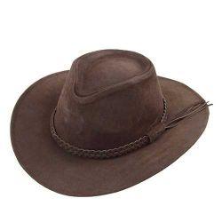 Ref: 0240 - Chapéu Australiano I Couro. Cor Marrom.